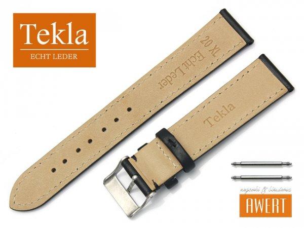 Pasek do zegarka skórzany 20 mm XL TEKLA PT69 czarny