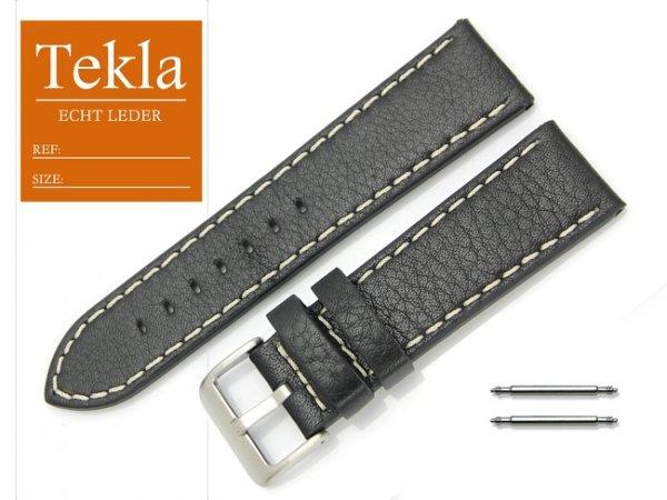 TEKLA 24 mm pasek skórzany PT31 czarny białe szycie