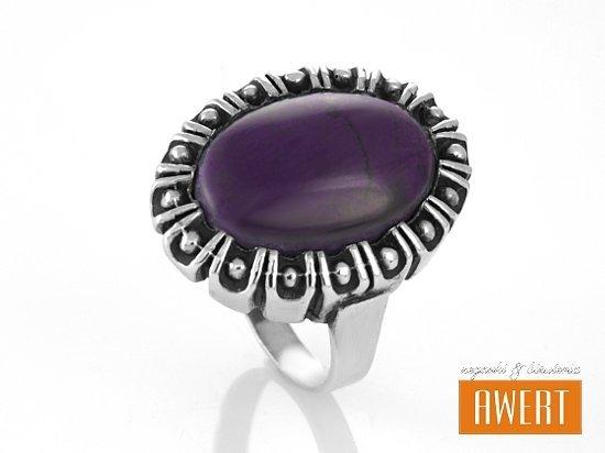 SCARLETT VIOLA srebrny pierścionek z kamieniem roz.19