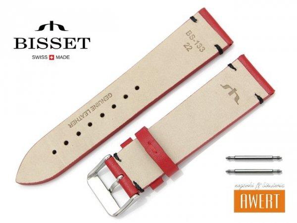 BISSET 22 mm pasek skórzany BS133 czerwony