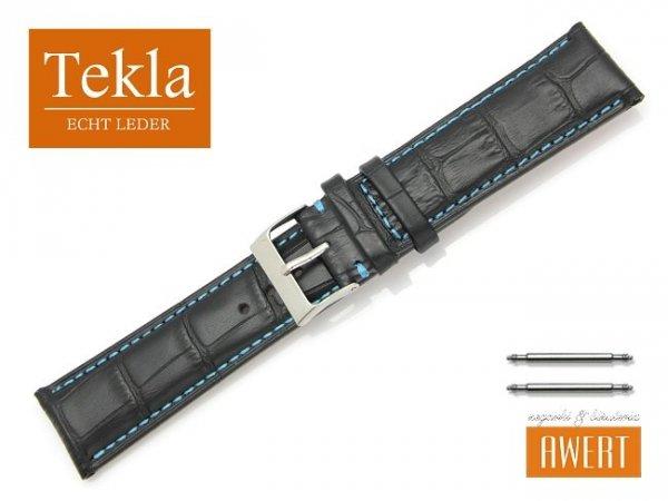 TEKLA 22 mm pasek skórzany PT41 niebieskie szycie
