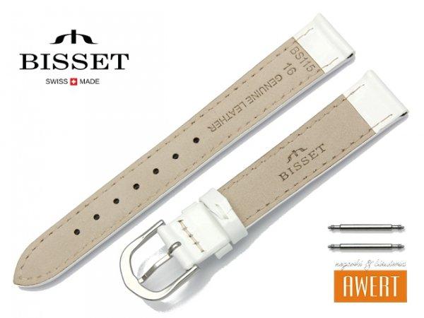 Pasek skórzany do zegarka 16 mm BISSET BS116 biały lakier