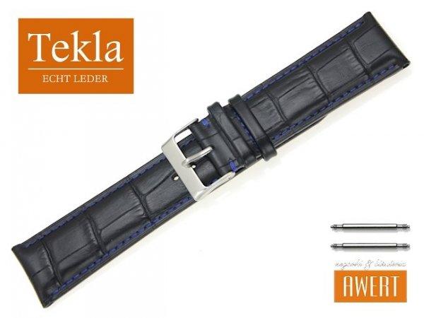 TEKLA 24 mm XL pasek skórzany PT41 niebieskie szycie