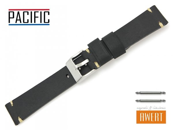 PACIFIC 20 mm pasek skórzany W93 czarny W93-1WH-20