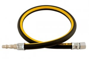 1/4in. ID Air Line Whip Hose C/w Fittings 0.6m