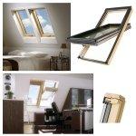 Dachfenster Fakro FTT U6 3-fach Verglasung und VSG Uw=0,8 W/m² Ultra-energiesparende Schwingfenster zweifach mit Acryl-Lack lackiertem Kiefernholz