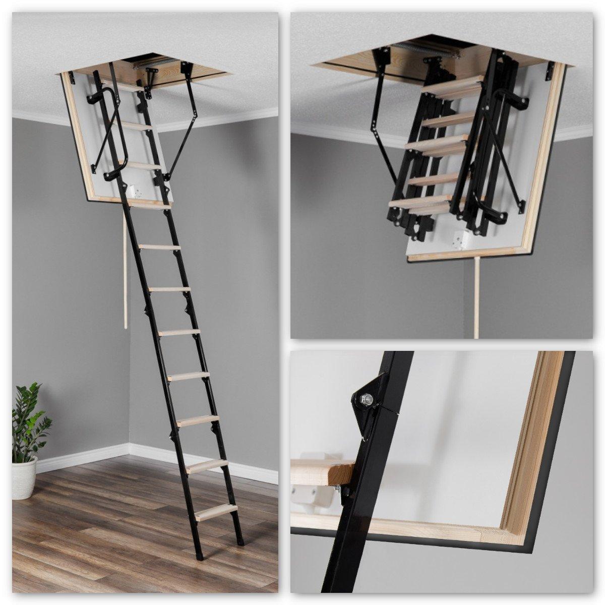 bodentreppe oman mini ei 45 metalltreppe mit holzstufen metalltreppe bodentreppe. Black Bedroom Furniture Sets. Home Design Ideas