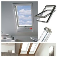 Outlet: Dachfenster Fakro FTU-V U3 55x98 Schwingfenster aus weiß lackiertem Holz PU-Kunststoff-Lack, Dauerlüftung V40P, topSafe-System Uw: 1,3 Polyurethan-Kunststo<br />fflack