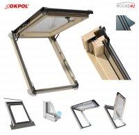 Dachfenster Kipp-Schiebefenster Okpol ISK I3 3-fach Energiesparende Uw=0,8 W/m²K Holz klar lackiert Anti-Kondensat-Glas Anti-Tau-Effekt