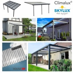 Terrassenüberdachung Climalux Wandbefestigung mit Statik Stegplatten 16 mm Reflex Pearl, Pfosten und Träger in Alu Standardfarben : Grau 7016 Struktur