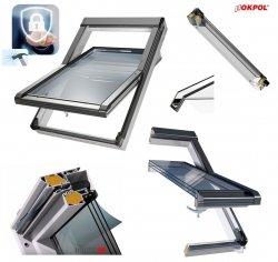Dachfenster OKPOL IGOV N23 P2A Kunststoff Schwingfenster 3-Scheiben Uw=0,83 Energiesparende ESG außen, VSG innen Alternative zu Verglasung (- -70)