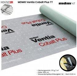 Dampfsperbahn MDM® Ventia Cobalt Plus TT Dreischichtig mit einem Gewicht von ca. 170 g / m² und einer Dicke von 800 µm Mit integriertem Kleberstreifen auf beiden Kanten – Version TT