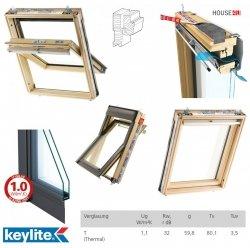 Dachfenster Keylite TCP Thermo Uw=1,3 Schwingfenster Kiefernholz Klar lackiert