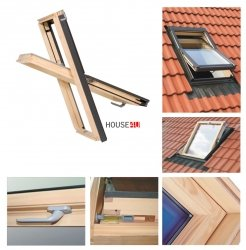 Dachfenster 94x140 Holz-Fenster Oman SELECT EN Uv =1,3 W/m² Oman Schwingfenster klar lackiert incl. Eindeckrahmen