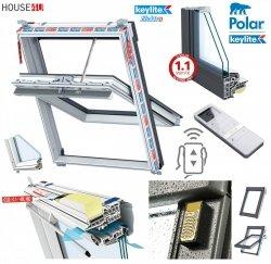 Elektro-Dachfenster Keylite PVC PCP T PEK Premium Elektrofenster mit Handheld-Fernbedienung mit 15 Kanälen 2-fach-Verglasung Uw= 1,3  Schwingfenster aus Kunststoff Weiß PVC mit Wärmedämmblock