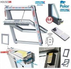 Elektro-Dachfenster Keylite PVC PCP ATG PEK Premium Elektrofenster mit Handheld-Fernbedienung mit 15 Kanälen 3-fach-Verglasung Uw= 1,1 Schwingfenster aus Kunststoff Weiß PVC mit Wärmedämmblock