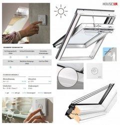 VELUX INTEGRA® Solarfenster Schwingfenster GGL 206830 3-fach Uw =1,1 ENERGIE Holz/Kiefer weiß lackiert, Rw=35 dB, Tau-Effekt, Anti-Regengeräusch-Effekt, Verbund-Sicherheitsglas
