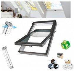 Dachfenster Fakro PTP-V U4 3-fach-Verglasung Schwingfenster Energiesparende Uw=1,1 Ug=0,7 W/m²K weiße,  innen mit verzinktem Stahlkern verstärkte Kunststoffprofile PVC