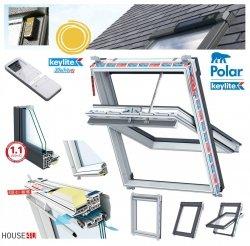 Elektro-Dachfenster Keylite PVC PCP ATG SPEK Solar Elektrofenster mit Handheld-Fernbedienung mit 15 Kanälen 3-fach-Verglasung Uw= 1,1 Schwingfenster aus Kunststoff Weiß PVC mit Wärmedämmblock
