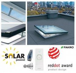 Solar-Flachdach-Fenster Fakro DEF DU6 Solar Gesteuert 3-fach Verglasung U=0,70 W/m²K *, Flachglassegment mit Regensensor, Weiß PVC-Rahmen, ohne kuppel, Verbundsicherheitsglas P2A, 2°-15° Grad, FlachGlass, Autonome DEF-Solarfenster, 36 dB