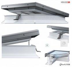 ROOFLITE Elektrisches Flachdach-Fenster ROOFLITE FRE B600  Flachglassegment mit Regensensor, Weiß PVC-Rahmen, ohne kuppel, Qualitätsproduktion der VKR-Gruppe, 5°-15° Grad, W Urc =0.87, RAL 7043, VELUX io-homecontrol® Kompatibilität, inkl.Funk-Wandschalter