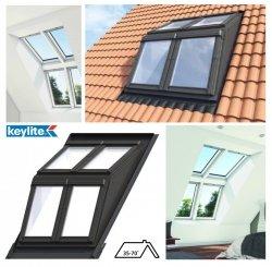 Keylite Flach-DachSystem, Dachgaubensystem DRX, 2x2, Lichtlösung -Basiselement, Holzgehäuse Dachgabensystem. Kombi-Eindeckrahmen,  Dachgauben-Paket: Montagerahmen, Eindeckrahmen und Hilfssparren