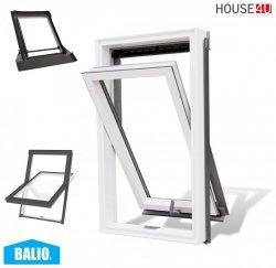 BALIO Dachfenster APB 66x112 cm Schwingfenster Kunststoff-fenster PVC Profile in Weiß, Wohndachfenster THERMO Uw= 1,4 mit 2-fach Verglasung mit Untenbedienung (Boden-Griff) RAL 7043, incl. Universal - Eindeckrahmen 0-50mm