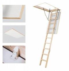 Bodentreppe Optistep OLB aus Holz U=1,54 weiße Öffnungsklappe 60x120 / 70x120 x280 cm