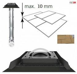 FAKRO Tageslicht-Spot SRD-S mit Kuppel, Durchmesser ∅ 250 350 550 mit starrem Rohr mit Eindeckrahmen, für flache Dacheindeckungen bis zu 2 x 5mm