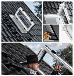 VELUX Ausstiegsfenster GXU 0060 Türfunktion Kunststoff ENERGIE Wohn-/Ausstiegsfenster Aluminium Dachausstieg für ausgebaute Dachböden  Einbruch- und Schallschutz