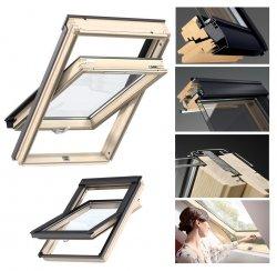 VELUX Dachfenster GZL 1051B Schwingfenster aus Holz Boden Griff Uw= 1,3 Thermo 2-Fach-Veglasung Holz klar lackiert VELUX Neue Generation ThermoTechnology™