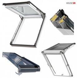 Dachfenster Kipp-Schiebefenster Okpol IGKV N22 Energiesparende Uw=0,86 3-Fach Verglsung / PVC Profile in Weiß - Öffnungswinkel bis 62° - Optional Ausstiegsfenster