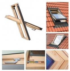 Dachfenster 55x78 Holz-Fenster Oman SELECT EN Uv =1,3 W/m² Oman Schwingfenster klar lackiert incl. Eindeckrahmen