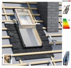 Dachluken, Ausstiegsfenster Okpol ISW I22 für Nutzräume 3-fach Verglasung Uw=1,06 55x78, 55x98 , Energiesparend, Dachausstiegsfenster aus Holz SOLID+ - Dachausstieg - Dachluke - Dachfenster mit Schlüsselschloss und Mikrobelüftung