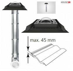 FAKRO Tageslicht-Spot SRD-Z mit Kuppel, Durchmesser ∅ 250 350 550mit starrem Rohr mit Eindeckrahmen, für profilierte Dacheindeckungen bis zu 45mm