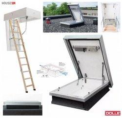 Flachdachausstieg Dolle mit ClickFix 76 Bodentreppe modularer ausstieg zur Verwendung mit clickFix® Bodentreppe