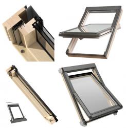Dachfenster OKPOL ISO I22 Energiesparende Schwingfenster aus Holz klar lackiert