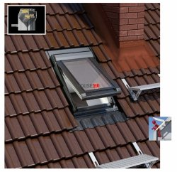 OUTLET: Dachluken Okpol IGWX E2 55x78 Uw=1,2 W/m²K für Nutzräume aus Kunstoff 2-fach Verglasung Ausstiegsfenster