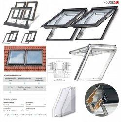 VELUX Lichtlösung DUO 2 Dachfenster DUO Ausführung GPU 0070 THERMO Klapp-Schwingfenster aus Kunststoff, Blendrahmen-Abstand 10 cm, Satz inlc. 2 x GPU 0070 EKZ 0021E + BDX, weiß Fenster