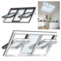 3-IN-1 Kombi-Dachfenster Velux GGLS 2066 ENERGIE PLUS 3-fach Verglasung, Holz weiß lackiert, Schwingfenster, Lichtlösung,