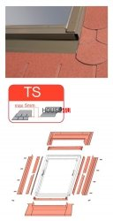 Eindeckrahmen Optilight TS Eindeckrahmen - für Flachdecken und profilierte Eindeckmaterialien bis max. 5 mm / Dachziegel oder Bitumenschindeln Schiefer