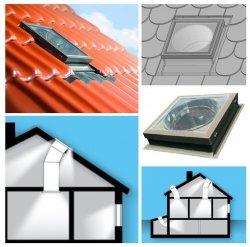 FAKRO Tageslicht-Spot SRH-L ∅ 350 550 mit starrem Rohr mit Eindeckrahmen, für hochprofilierte Dacheindeckungen bis zu 120mm / L - mit zusätzlicher Lichtfunktion