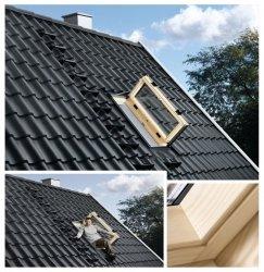 VELUX Wohn- und Ausstiegsfenster GXL 3070 mit Türfunktion cm Uw=1,3  Dachfenster GXL aus Holz klar lackiert THERMO Aluminium  2-fach Verglasung FK06 66x118  MK04 78x98