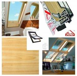 Dachfenster Designo WDF R45 K WD AL PVC-Kiefernfurnier KK  Uw=1,3 Roto R4 blueLine Schwingfenster aus Kunststoff mit Wärmedämmblock