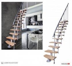 Mittelholmtreppen Systemtreppen ATRIUM MINI PLUS RAL 9006 (Grau) Mini-Treppen Geschosshöhe: 222 - 300 cm, Anzahl Steigungen: 11 Stk.