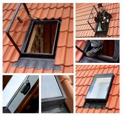 Ausstiegsfenster VELUX GVT 54X83 0000Z 103  gehärtetes Glas für unbeheizte Räume / Dachausstieg aus Polyurethan in Schwarz / für ungeheizte Räume