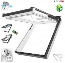 Dachfenster Fakro PPP-V U5 3-fach preSelect MAX Klapp-Schwingfenster Kunststofffenster PVC, Uw=0,97 W/m²K , der Flügel um 45° geneigt, Zwei getrennte Flügelöffnungsfunktionen