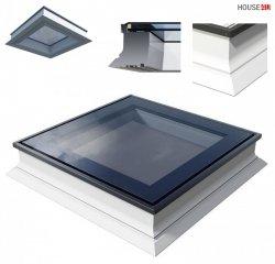 FlachdachFlachdach-Fenster OKPOL PGX A1 PVC Festverglastes Uw=1,1 W/m²K/ Flachverglasung , Innenscheibe aus Verbundglas, Tageslicht für flache Dächer ohne kuppel