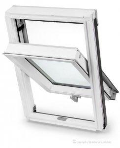 Dachfenster Schwingfenster Keylite BW Weiss 2-fach-Verglasung Thermal Uw=1,3 Dachfenster aus Holz: Weiss lackiert, Acryllack weiß farbe / Boden-Griff