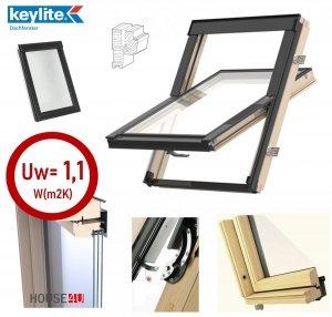 Dachfenster Schwingfenster KEYLITE BW Pine 3-fach-Verglasung ATG Uw=1,1 Dachfenster aus Holz, Kiefernholz klar lackiert, Boden-Griff, Mikrobelüftungsfunk<br />tion, Aluminium, lackiert, RAL 7043